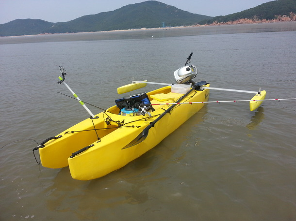 My Fishing Kayak Rigged With A 2 Hp Outboard Engine
