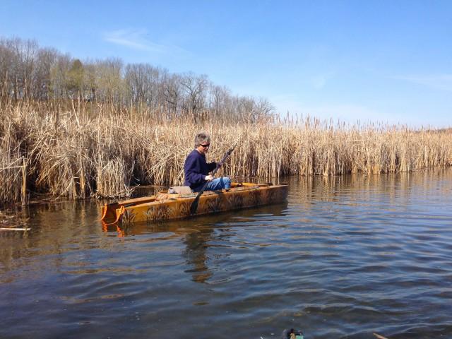 first-kayak-fishing-trip-2014-season-WI-camo-kayak