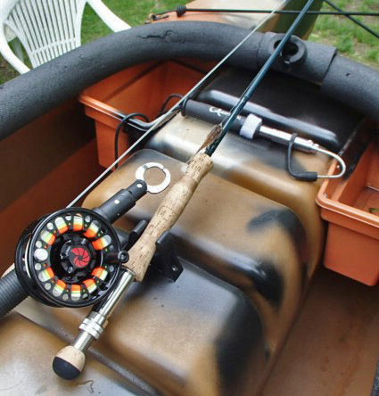 Fly rods in fly fishing kayak, MA