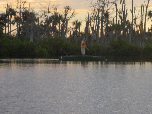 Bob-fly-fishing-standing-in-kayak-near-mangroves