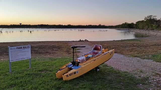 Wavewalk-fishing-kayak-with-front-mounted-electric-motor-Rowlett-Park-TX