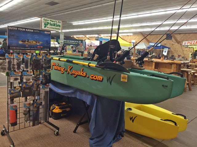 green-kayak-rigged-for-fishing-Early-Bird-outdoors-show