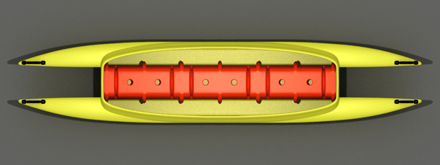 Yellow and Orange tandem fishing kayak top-view 640
