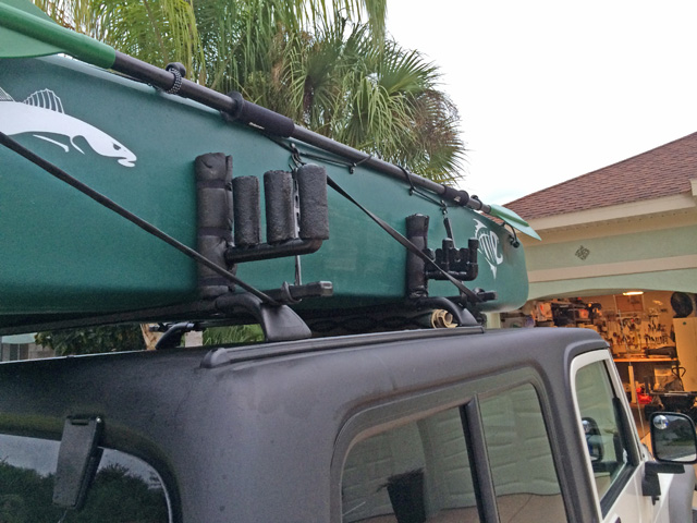 fishing kayak on roof rack