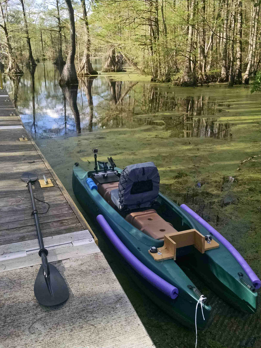 My kayak docked in Merchants Mill pond