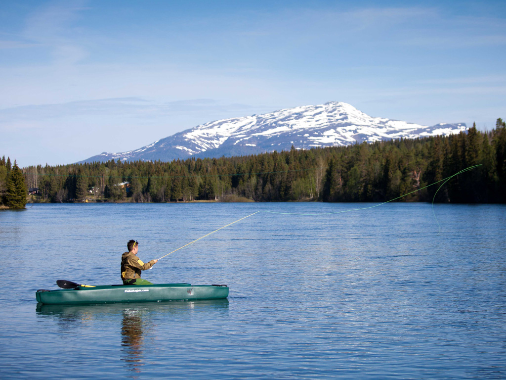 Christer fly fishing from his W700 kayak - Northern Sweden