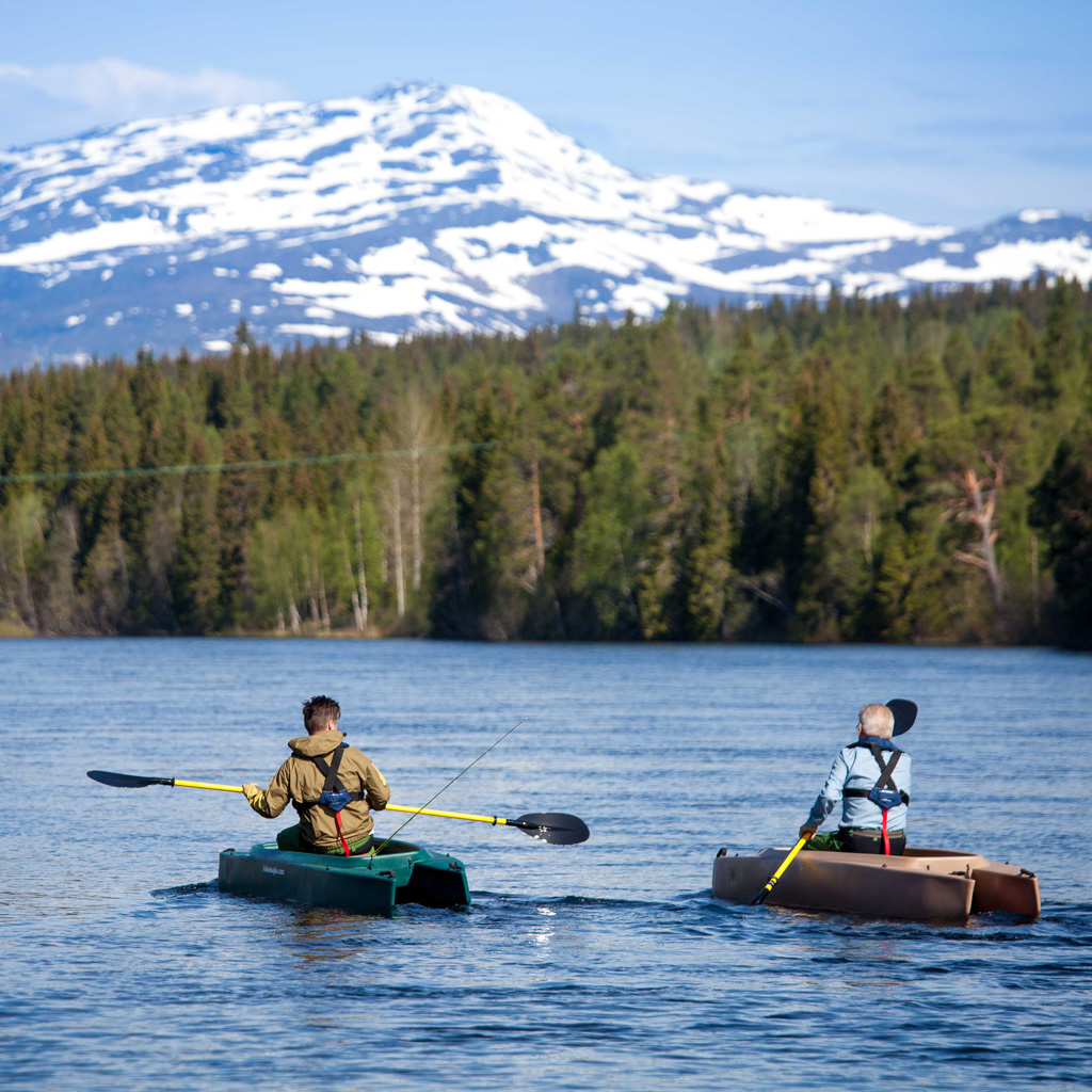 Kent and Christer paddling on the river, Northern Sweden