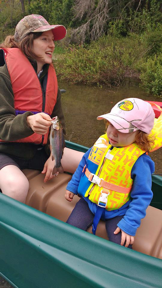 mom and toddler angler and first fish they caught