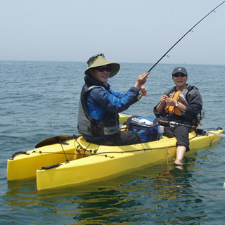 tandem fishing in a kayak - South Korea