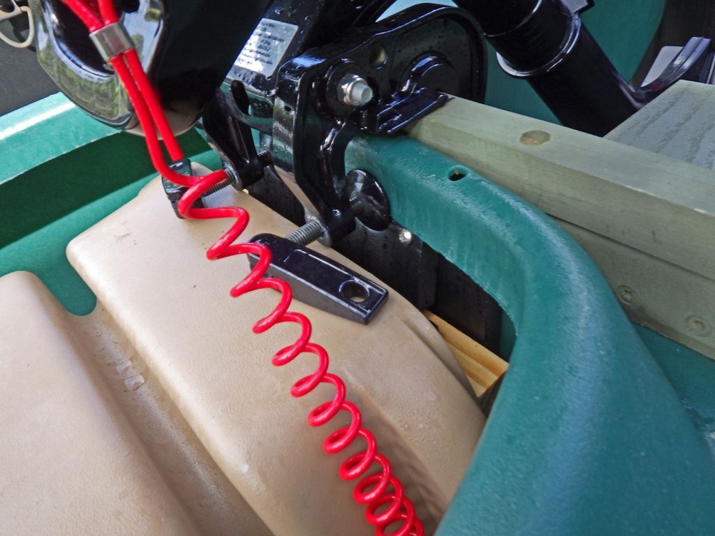 Wavewalk 700 skiff outfitted with DIY motor mount for short shaft 3.5 HP outboard motor