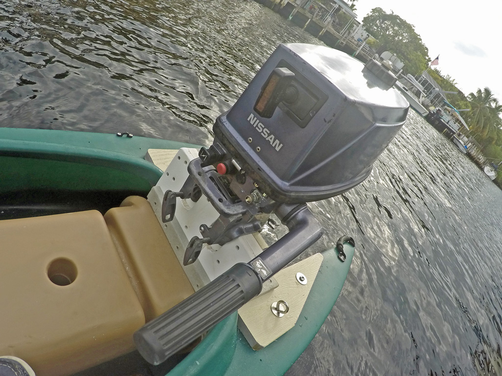 Wavewalk 700 skiff with 5 hp tohatsu outboard motor and 5hp motor