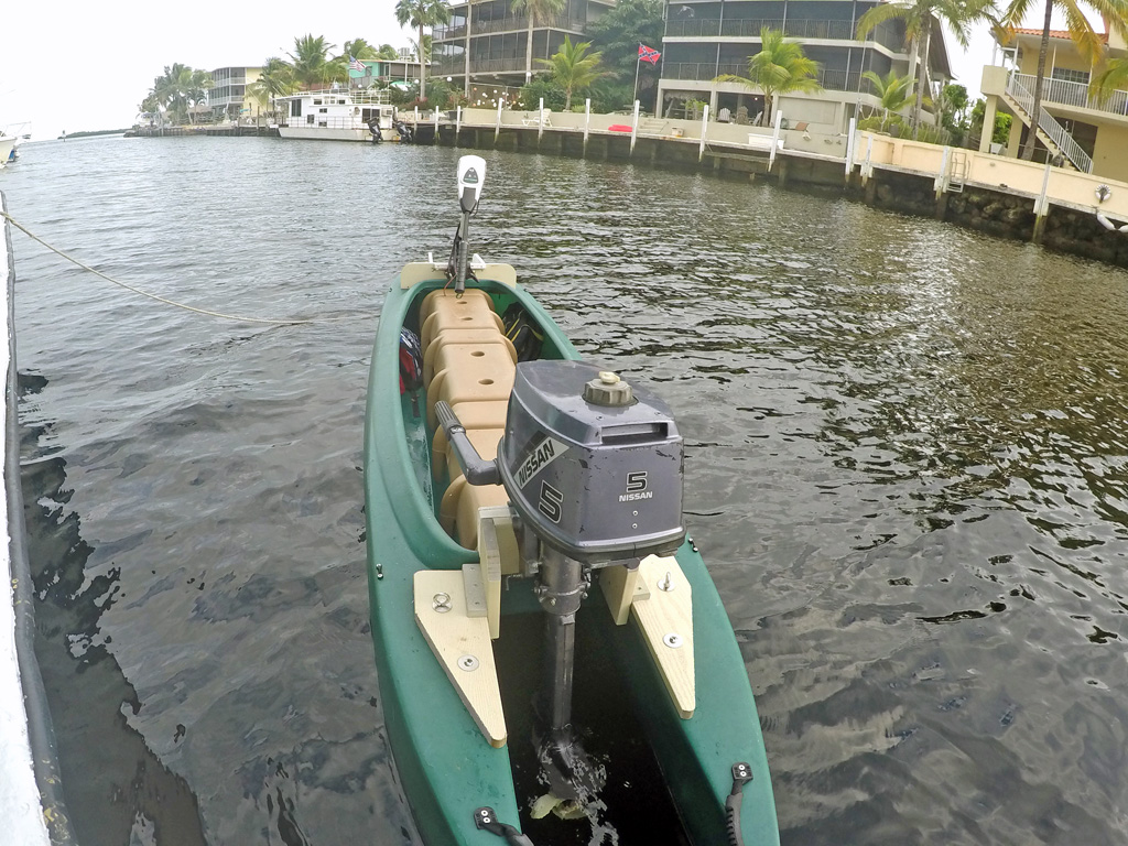 Portable skiff with 5HP outboard and electric trolling motor, FL