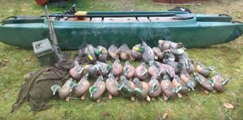 Duck hunting gear stored on board the Wavewalk 700
