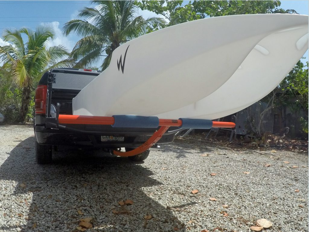 S4 kayak skiff transported on a pickup truck bed