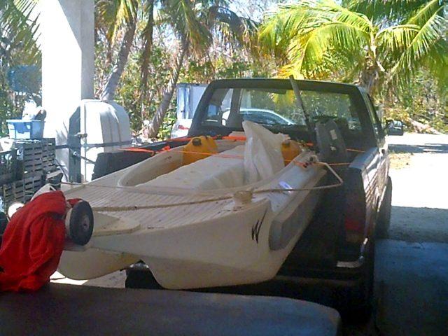 S4 microskiff on top of pickup truck bed
