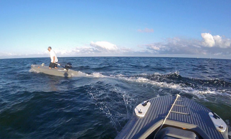Four people having fun in three Wavewalk S4 skiffs, Key Largo