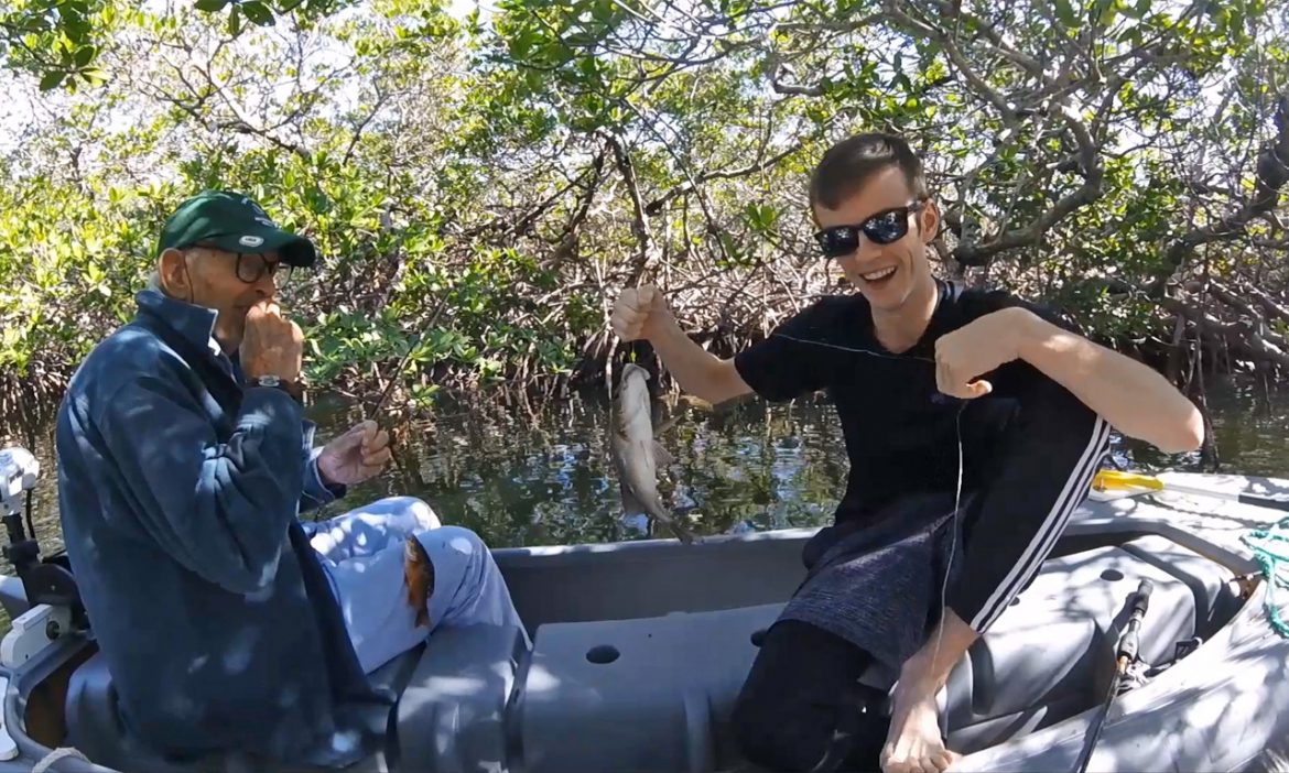Bob and Austin's fishing adventure in the mangrove tunnels of Key Largo