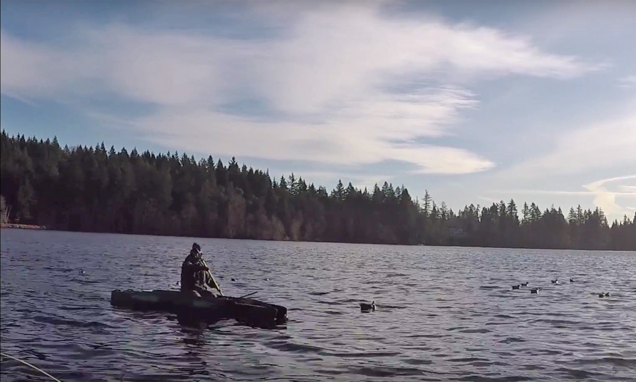 Hunting ducks and being robbed by eagles wavewalk for Most stable fishing kayak
