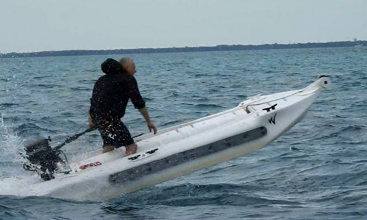 the world s fastest kayak wavewalk stable fishing