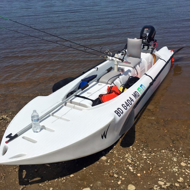 Review of Wavewalk S4 motorized fishing kayak with 2.5 HP outboard, Maryland