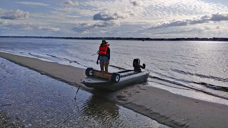 Wide wheels for Wavewalk S4 motor kayak skiff