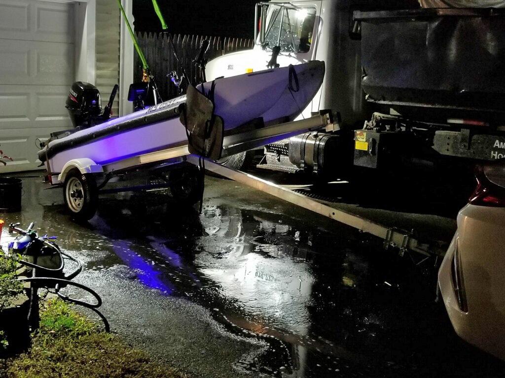 Wavewalk S4 motor fishing kayak transported on a trailer