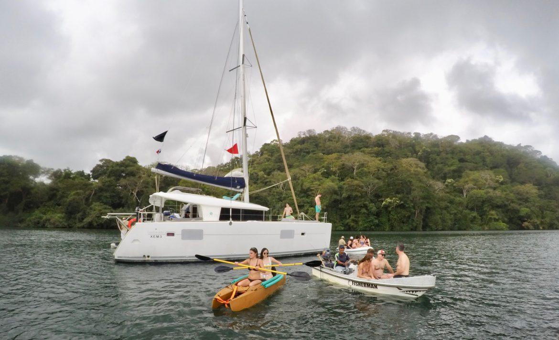 Two paddlers in Wavewalk tandem kayak Panama