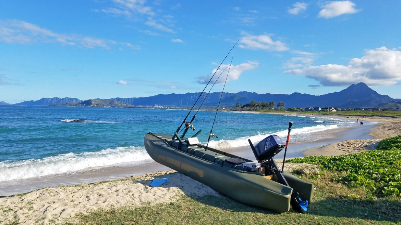 S4 motor kayak beached in Hawaii