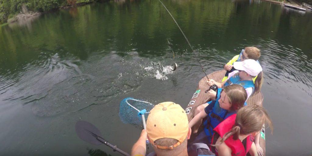 Mulitple anglers in a tandem fishing kayak