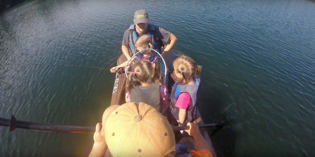 Five anglers in a Wavewalk S4 fishing kayak