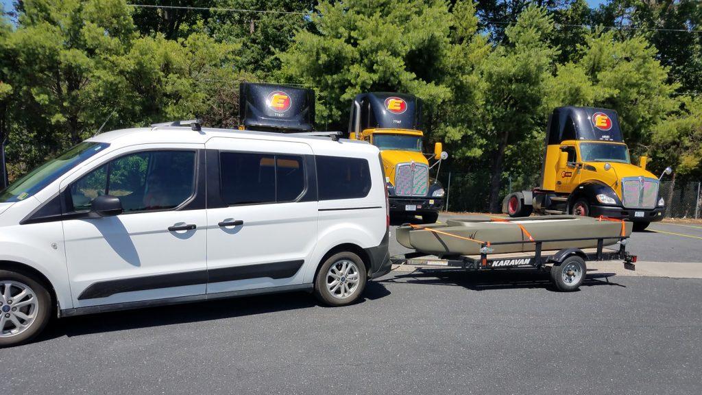 W700 fishing kayak transported on trailer