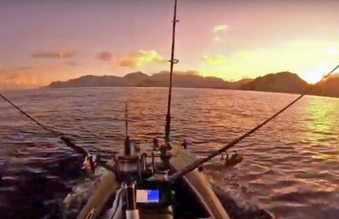 Wavewalk S4 motor kayak on deep-water offshore fishing trip in Hawaii