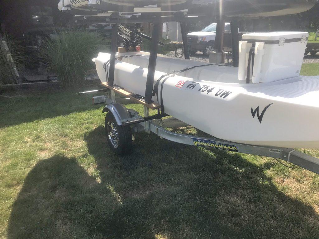 Wavewalk S4 motor kayak skiff on trailer