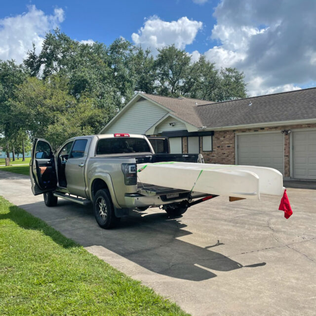 S4 microskiff transported on pickup truck bed TX