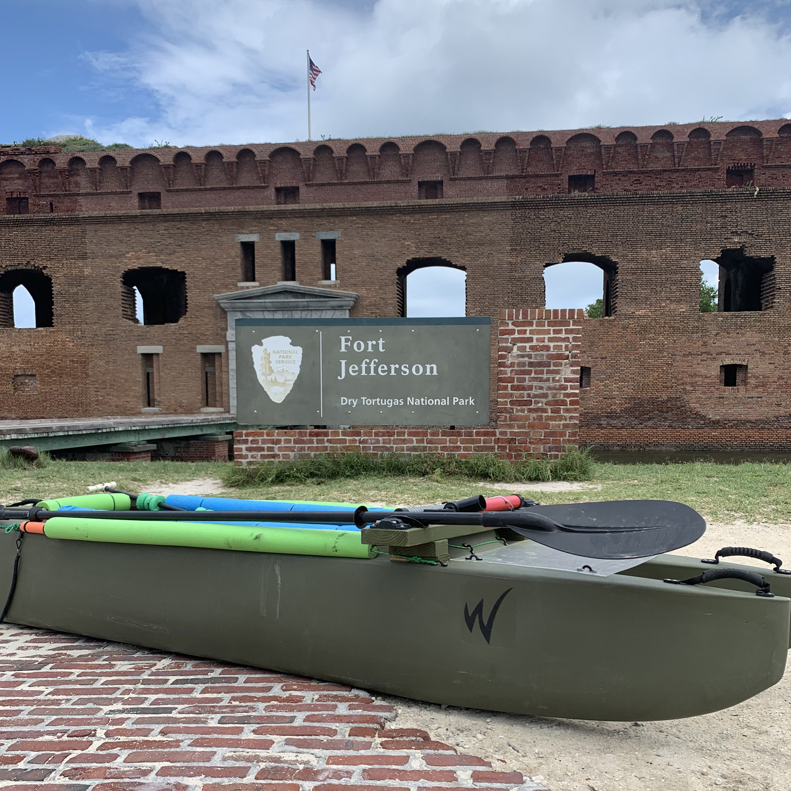 W500 fishing kayak at Fort Jefferson, Dry Tortugas islands