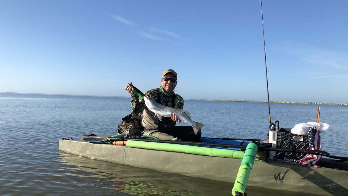 W500 kayak fishing offshore in the Gulf of Mexico