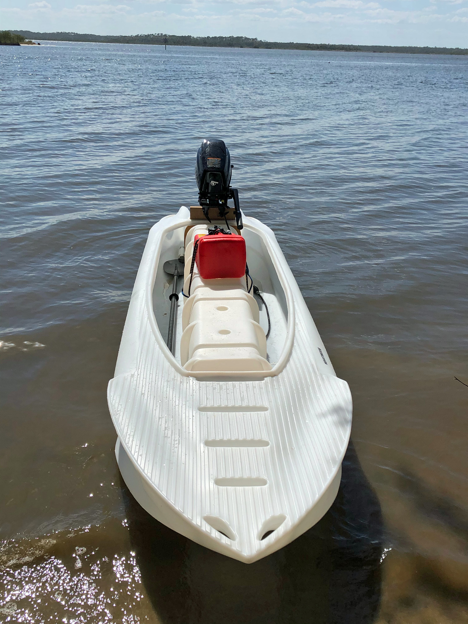 Wavewalk S4 motor kayak microskiff with 6HP Tohatsu outboard