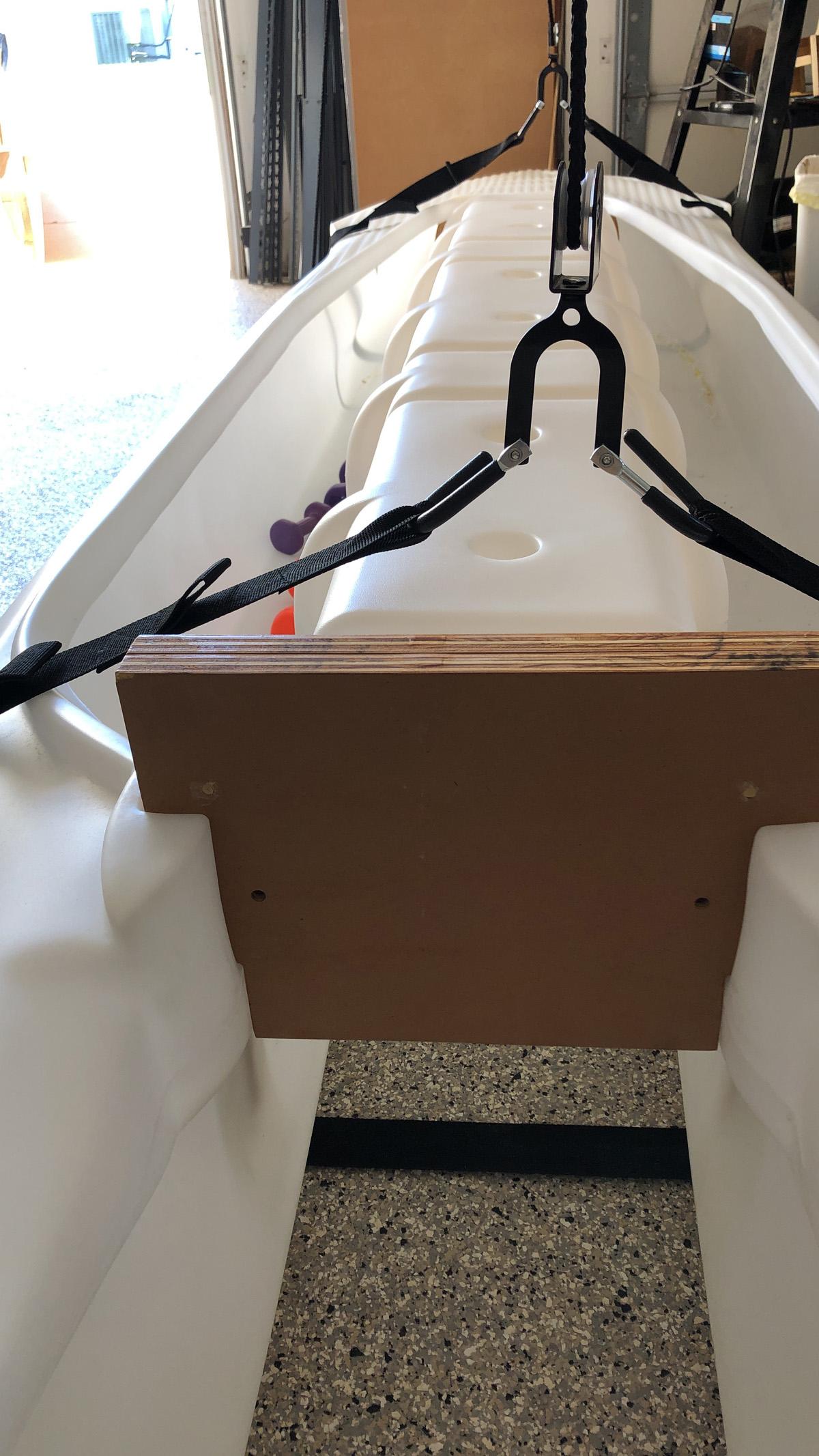 ceiling sling storage system for S4 motor kayak microskiff