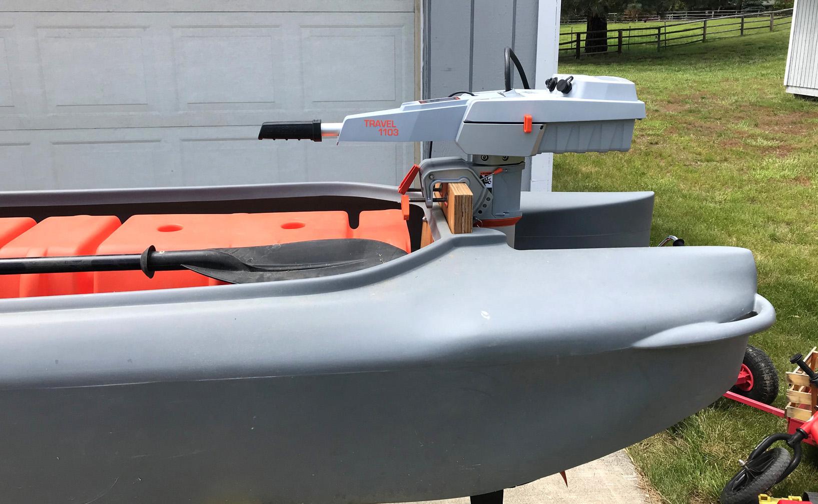 The Torqeedo 1103 mounted at the stern of my Wavewalk S4 kayak