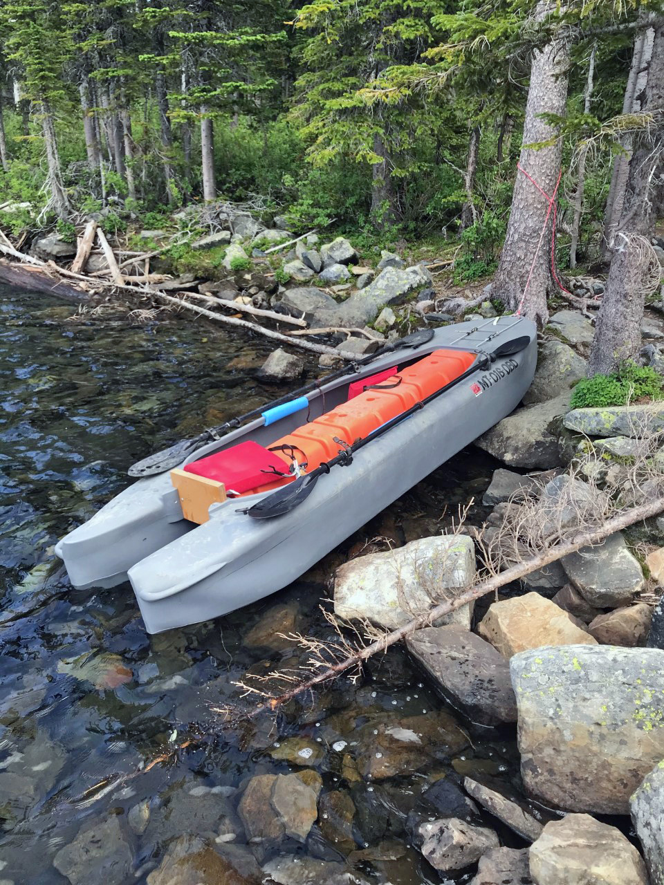 S4 tandem fishing kayak beached, lake Hawkin MT