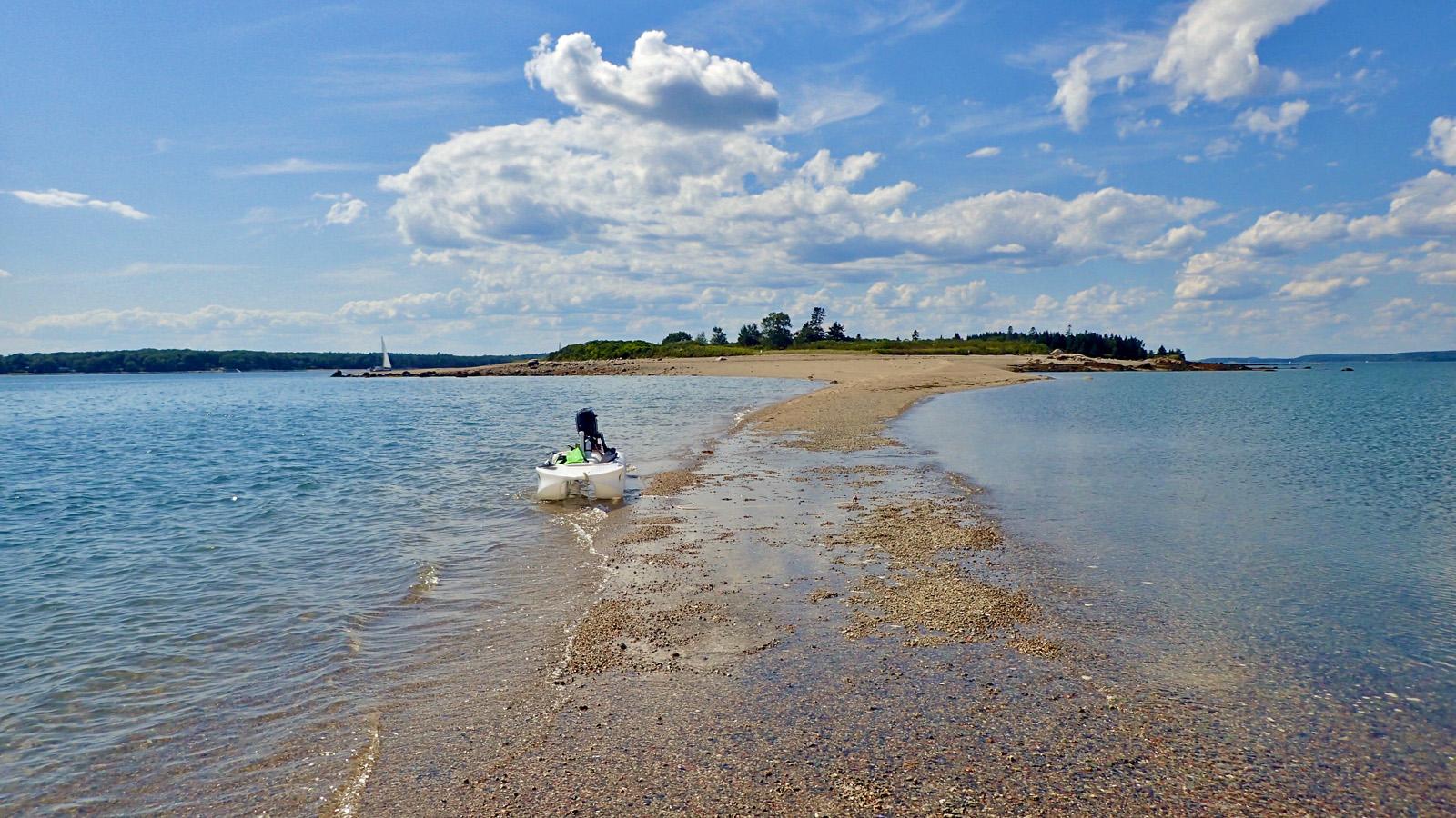 Wavewalk S4 on Torrey Island sandbar, Maine