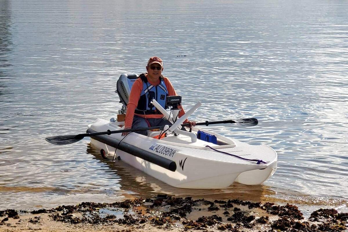 S4 microskiff with 5 HP Honda outboard motor -Alabama