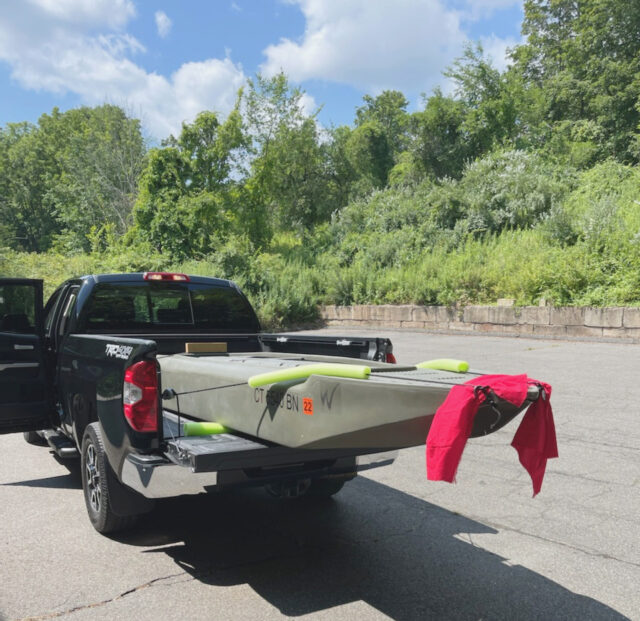 S4 microskiff transported on pickup truck bed CT